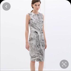 Zara bodycon marble pattern midi length dress